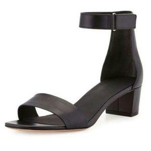 VINCE Black Ankle Strap Block Heel Sandal